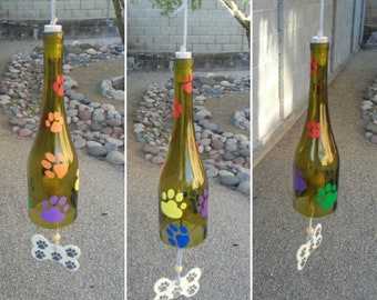 Dog memorial gift, Personalized wind chimes for lover of dogs, Rainbow bridge wind chime, Pet remembrance, Rainbow colored paw windchime