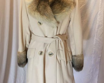 Vintage 60s 70s Sears Fashions ILGWU Cream Belted Coat Faux Fur Collar Sleeves Trim