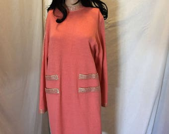 Vintage 80s Don Sayres For Wellmore Peach Embellished Dress Wool Knit Rayon Size 4