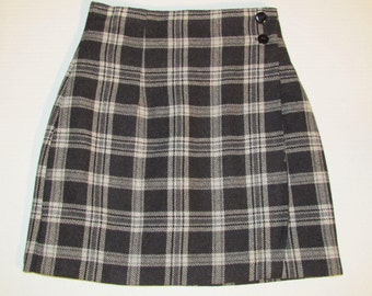 Vintage Wool Blend Plaid Mini Skirt Size XS