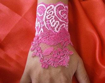 Monet lace bridal cuffs cocktail lace Fuchsia, embroidered lace charm bracelet, cuff lace charm