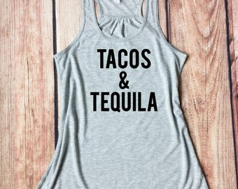 Tacos and Tequila, Bachelorette Weekend, Fiesta Tank, Mexico Vacation, Party Shirt, Vacation Tank, Taco Lover Shirt, Women's Racer-back Tank