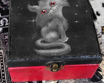 Gothic style little wooden box. Creepy cute cat. Decoupage and hand painted. Jewelry box.