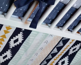 Navajo Ikat Crib Skirt | Nursery Bedding Crib Bedding Baby Boy Bedding Woodland Crib Skirt Aztec Navy Mint Gold