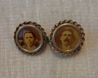 Antique Portrait Photo Brooch, Mourning Brooch, early 1900's, dual photo