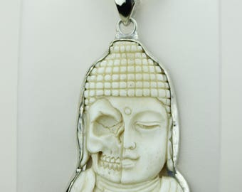 Find Peace! Half Skull Half Buddha TOTEM Goddess Face Moon Face Bone Carving 925 S0LID Sterling Silver Pendant + 4MM Chain p4322