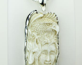 Bear Lady TOTEM Eagle Bear Goddess Face Moon Face Bone Carving 925 S0LID Sterling Silver Pendant + 4MM Chain p4320