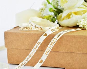 Wedding 10mm Personalised Printed Ribbon - Wedding Gift Wrap - Wedding Ribbon - Anniversary Gift Wrap