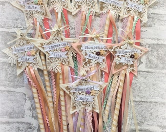 Flower Girl Wand, vintage lace Handmade personalised wedding keepsake