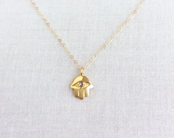 14K Solid Gold Hamsa Necklace with 2mm Diamond, Gold Hamsa Necklace, Hamsa Hand Necklace, Hamsa Necklace Gold, Evil Eye Necklace,  14KNHAM