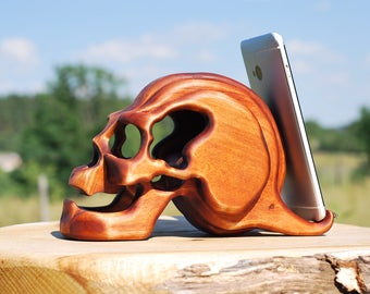 halloween wood skull gothic gifts witch goth skeleton pirate horror phone stand iphone halloween wood statues skull gothic phone witch gifts