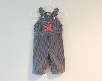 Vintage 1980's Baby Boy Overall Pants / Choo-Choo Train Engine Size 6 Months