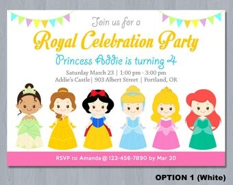 Disney Princess Invitation, Princess Invitation, Disney Princess 1st Birthday Invitation, Disney Princess Birthday Party