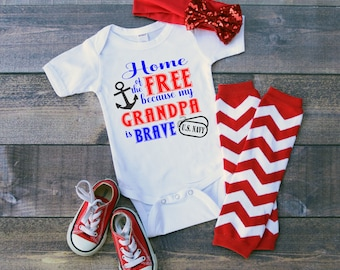 U.S. Navy Home of the Free because my Grandpa is Brave Baby Shower Idea Girl Boy Toddler Clothes Romper Shirt Tee Coming Home Veterans Day