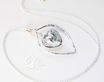 Murano Glass 'Grigio' Heart Necklace, Sterling Silver