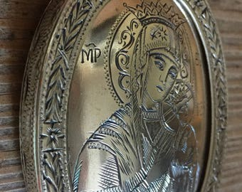 Vintage Silver Engraved Religious Orthodox Icon Virgin Mary Our Lady of Perpetual Help Medal Saint Wall Hanging