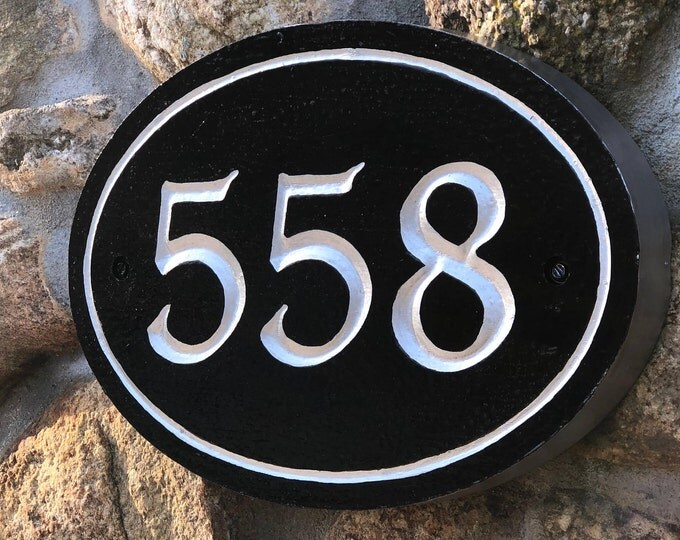 "Handcrafted house number signs - 3 or + numbers - 6.5"" x 10"" x 1"""