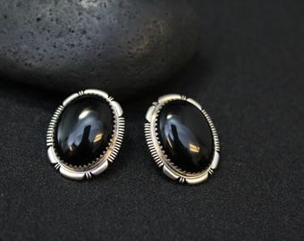 Sterling Silver Signed Native American Black Onyx Oval Earrings, Sterling Oval Navajo Earrings, Native American Onyx Earrings
