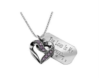 Victorian CZ Heart Necklace/Custom Verse Tag- Women's