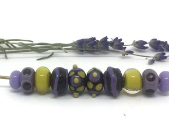 Mustard and Purple on Dark Brown Bead Set
