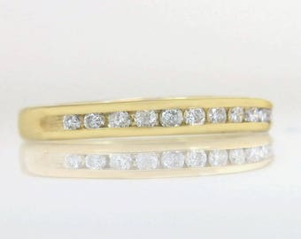 Estate 14K Yellow Gold .12ct Genuine Diamond Ring Wedding Band
