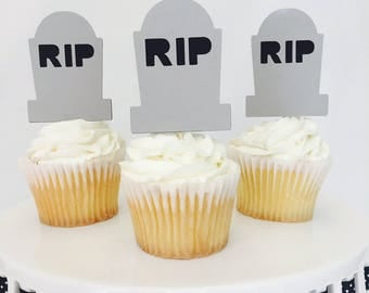 12 RIP Gravestone Cupcake Toppers - Halloween - Halloween Party - Scary - Party Decorations - Cemetary - Party Supplies - October - Ghost