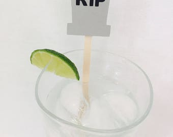 15 Halloween Stir Sticks - Gravestone - RIP - Happy Halloween - Swizzle Sticks - Black - Scary - Haunted - Ghost - Drink Stirrers