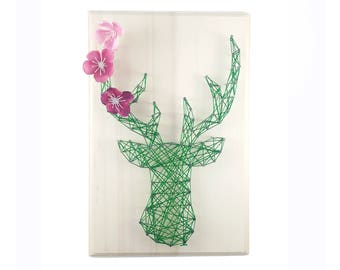 DIY kit deer design - String art kit - Deer pattern - Nursery wall art - kid room - birthday gift