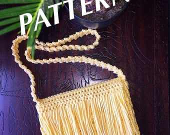 Crochet Crossbody Fringe Purse ~ Boho Bohemian Festival Summer ~ Women's Bag ~ Tote ~ Purse ~ Beginner Pattern - PDF Pattern