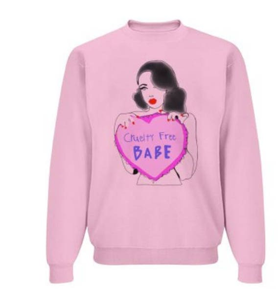 Cruelty Free Babe, oversized sweater, pink pullover, pin up girl sweater, vegan, vegan sweater, cruelty free sweater