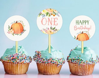 Little Pumpkin Cupcake Toppers Girl Birthday Printable Toppers Fall Birthday Party Decor First Birthday Second Birthday DIGITAL DOWNLOAD