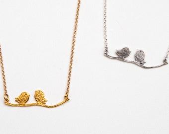 Gold love birds necklace Silver bird necklace Branch Love birds necklace Branch necklace Birds on a branch Silver love birds Mother's day