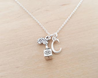 Ink Well Necklace - Writer Poet Gift -  Personalized Initial Necklace - Custom Jewelry - Personalized Gift - Gift for Her