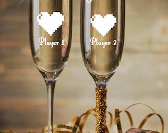 Player 1 2 Geek Champagne Glasses Nerdy Wedding Gift