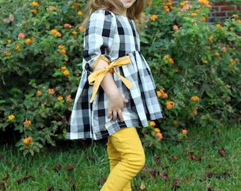 Girls Buffalo Plaid Tunic- Toddler Girls Dress- Buffalo Check Dress- Buffalo Plaid Dress- Fall Dress- size 12m, 18m, 2t, 3t, 4t, 5, 6, 7, 8