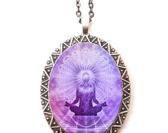 Yoga Meditation Necklace Pendant Trippy Hippie - Festival Fashion Consciousness Awareness Metaphysical Buddhism