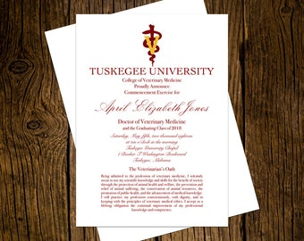 Tuskegee University DVM Graduation Announcements Set of 12 Personalized Custom Printed Class of 2018