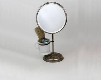Antique Shaving Mirror, Shaving Brush and Razors, Antique Oval Shaving Mirror Stand with Shaving Brush, Shaving Mug and Holder