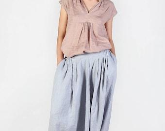 Linen pants / Loose linen trousers / Washed linen pants with elastic waist and pockets / Harem linen pants / Comfortable women pants