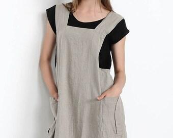 Linen apron / Washed Linen Pinafore / Work dress / Original linen pinafore / linen tunic / linen dress apron / linen / summer tunic / apron