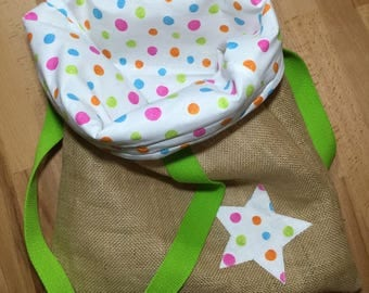 Tote Bag, bag in Burlap and white cotton with multicolored dots