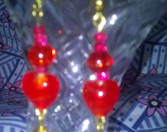 Handmade Red heart earrings
