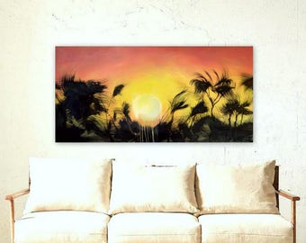 """Sunset Painting - Large Tropical  Landscape Canvas Wall Art - Ready to Hang 24x48"""""""