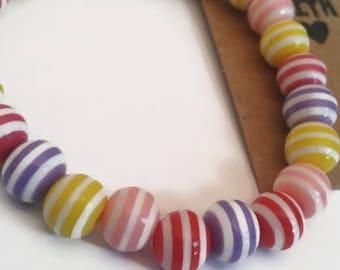 Children's pastel striped bracelet