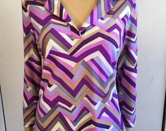 90's Disco Shirt/Vintage Women's Blouse Blouse/Purple And Pink/Size Medium/Stretchy Polyester/1990's