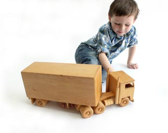 Wooden Toy Semi-Truck, Vintage Children's Toy
