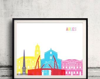 Arles skyline pop - Fine Art Print Glicee Poster Gift Illustration Pop Art Colorful Landmarks - SKU 2391