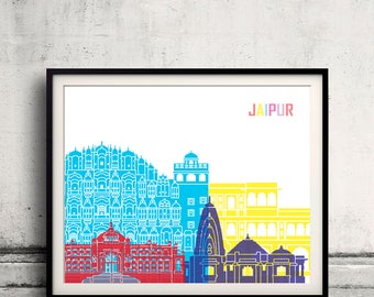 Jaipur skyline pop - Fine Art Print Glicee Poster Gift Illustration Pop Art Colorful Landmarks - SKU 2479