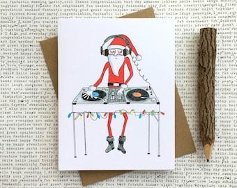 Funny Christmas Card, DJ Santa Card, Santa Card, Funny Santa Card, Funny Christmas Santa, Santa Claus, Santa Christmas Card