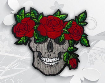 Skull and Rose Iron on Patch (XL2) - Skull with Rose Applique Iron on Patch - Size 15.5(W)x13.5(H) cm